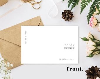 Minimalist Wedding Invitation Announcement Canva Template Customizable Horizontal Landscape Flat Cards 4x6