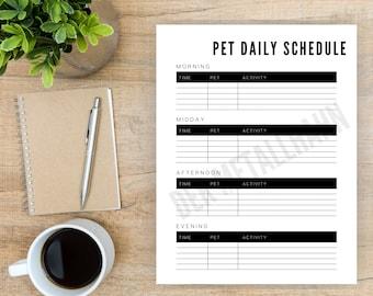Pet Daily Schedule List Organizer Tracker Printable Minimalist