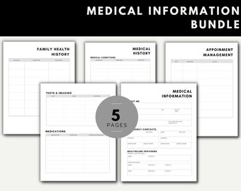 Medical Information Bundle Health Medication Family History Appointments Organizer Tracker (Updated May 2021)