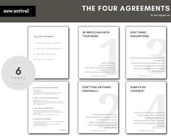 The Four Agreements by Don Miguel Ruiz Bundle Art Home Decor Poster Inspirational Motivational Set of 6 Minimalist Printables 8.5 x 11