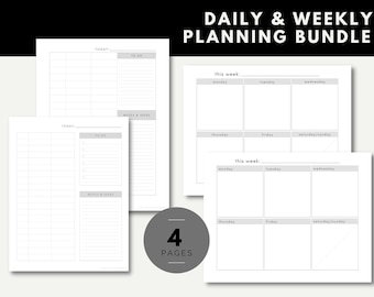 Daily Time Block Plan & Weekly Plan Planner Planning Minimalist Simple Printable List Organizer BUNDLE