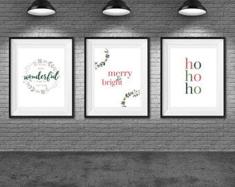 Most Wonderful Time // Merry & Bright // Ho Ho Ho Art JPG Printable Set of 3 11x14, 18x24