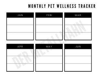 Pet Health Records List Organizer Wellness Tracker Printable Monthly Minimalist