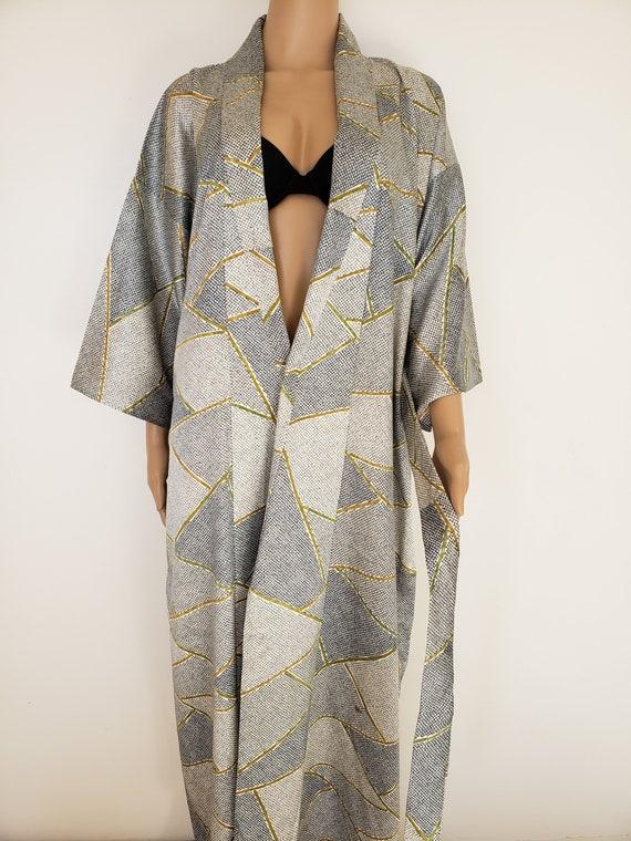 Japanese Silver Kimono Robe Dress Gown, Vintage Ki