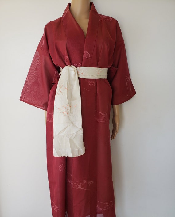 Sexy Japanese Kimono Dark Red Sheer Gown-dress, Vi