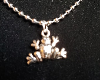 Frog, Pendant, Small, Silver tone, Choker, Necklace, on either Memory Wire, Faux or Real Leather Cord, or Chain - SEE DESCRIPTION BELOW