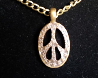 Oval, Peace Sign Pendant, Antique Gold tone, Choker, Hippie Necklace, on either Faux or Real Leather Cord, or Chain - SEE DESCRIPTION BELOW