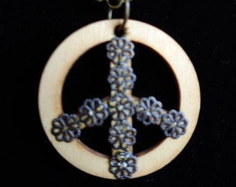 Flower Power! Peace Sign Pendant, Wood, Antique Gold, Choker, Necklace, on either Faux or Real Leather Cord, or Chain-SEE DESCRIPTION BELOW