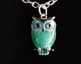Owl, Pendant, Green, Small, Silver tone, Choker, Necklace, on Memory Wire, Faux or Real Leather Cord, or Chain - SEE DESCRIPTION BELOW