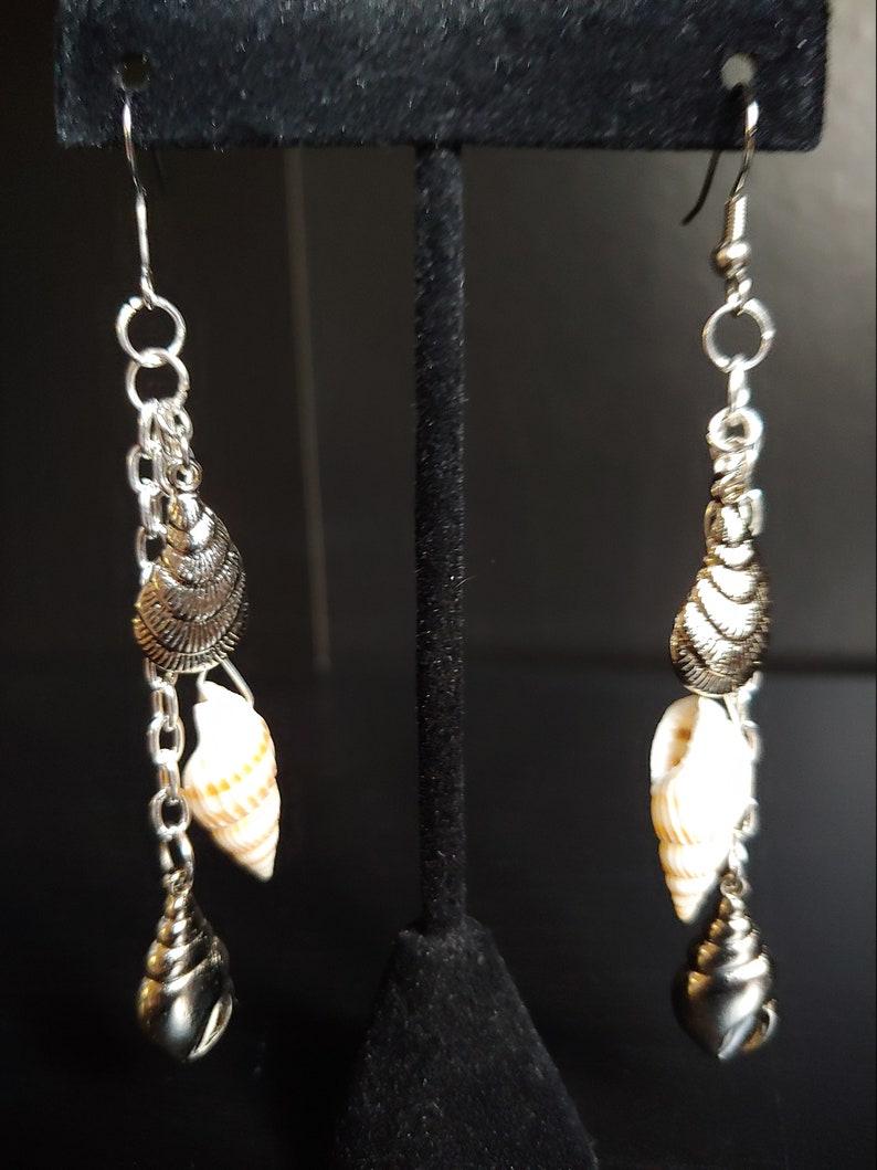 Sea Shell Earrings Silver Earrings Boho Earrings Beach image 0