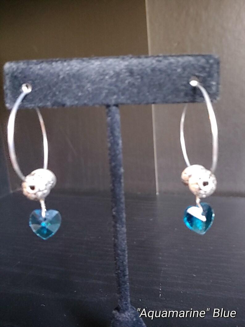 Silver Wire Hoop Earrings Dainty Earrings Birthstone image 0
