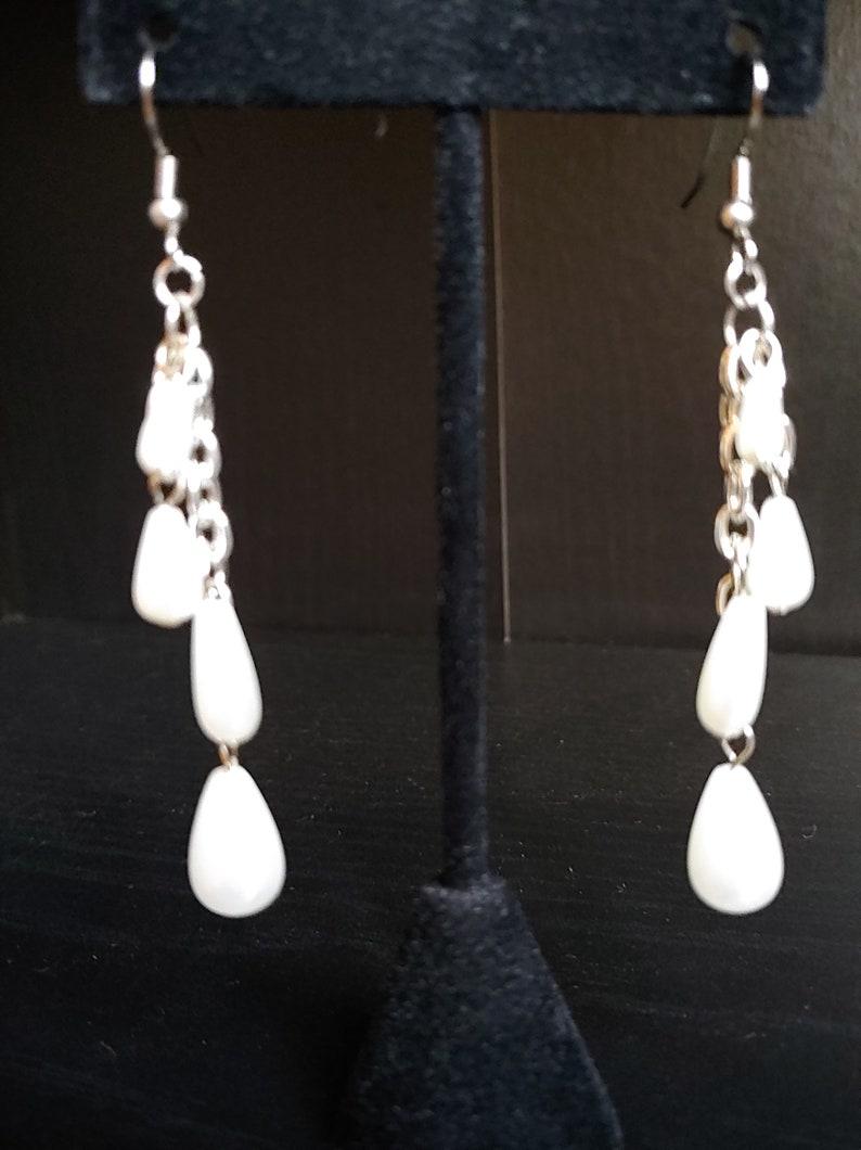 Faux Pearl Teardrop Earrings Silver Earrings Bridal image 0