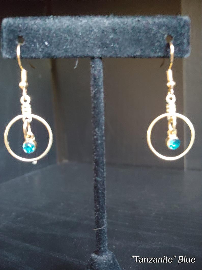 Birthstone Gold Small Wire Earrings Rhinestone Birthday image 0