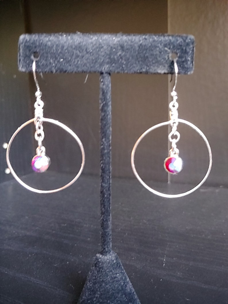 Silver Wire Earrings Colorful Round Earrings Rhinestone image 0