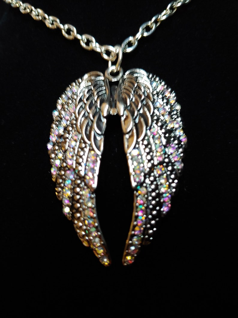 Angel Wings Sparkly Pendant Large Colorful Antique Silver image 0
