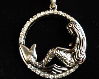 Sparkly, Mermaid Pendant, Large, Antique Silver, Choker, Necklace, on Memory Wire, Faux or Real Leather Cord, or Chain-SEE DESCRIPTION BELOW