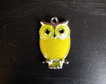 Owl, Pendant, Yellow, Small, Silver tone, Choker, Necklace, on Memory Wire, Faux or Real Leather Cord, or Chain - SEE DESCRIPTION BELOW