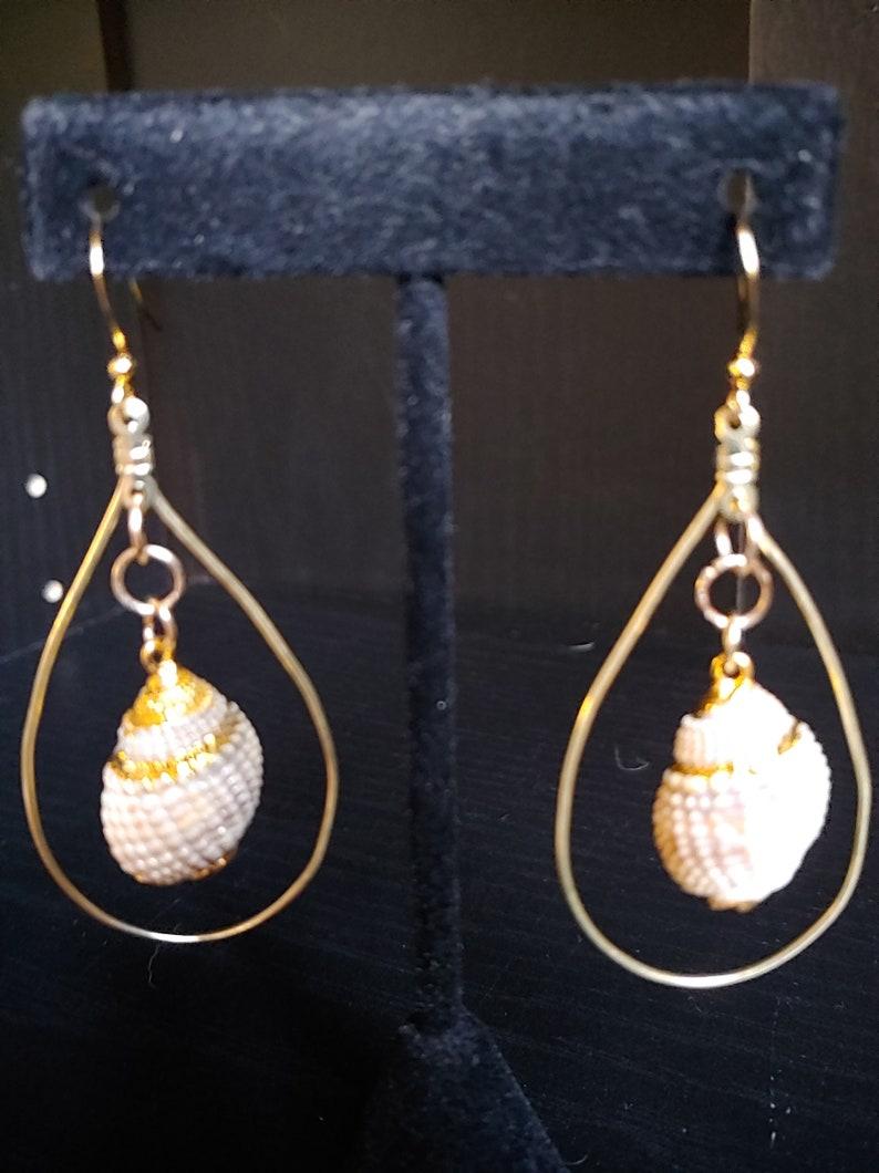 Gold Earrings Seashell Teardrop Earrings Boho Earrings image 0