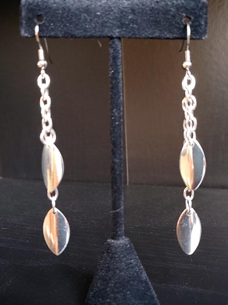 Simple Silver Earrings Drop Dangle Earrings Long Earrings image 0