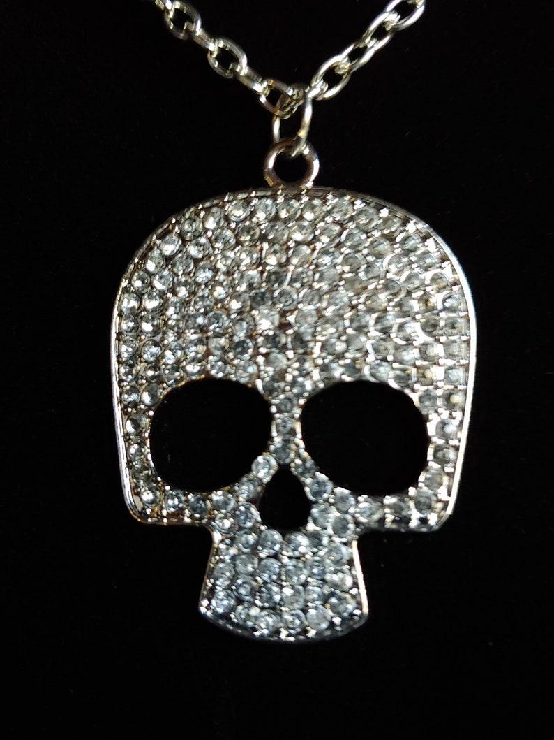 Sparkly Skull Pendant Large Silver Choker Rocker image 0