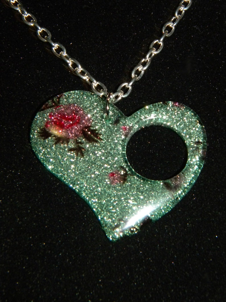 Heart Shaped Pendant Acrylic Resin Pink Roses on a Pale image 0