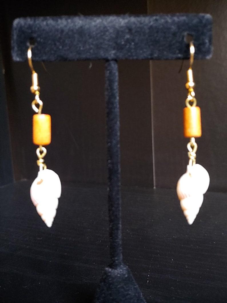 Seashell Earrings Gold Earrings Beaded Earrings Boho image 0
