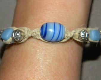 Blue, Beaded, Bracelet, Hemp, Macrame, Boho, Hippie, Beach, Surfer, Natural, Blue Glass Beads, Silver Beads