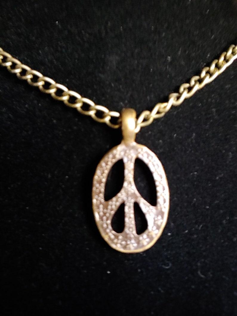 Oval Peace Sign Pendant Antique Gold tone Choker Hippie image 0