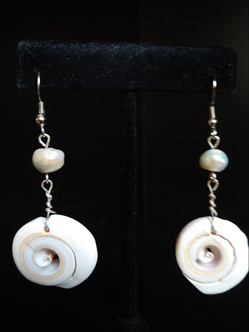 Seashell Earrings Silver Earrings Boho Earrings Beach image 0