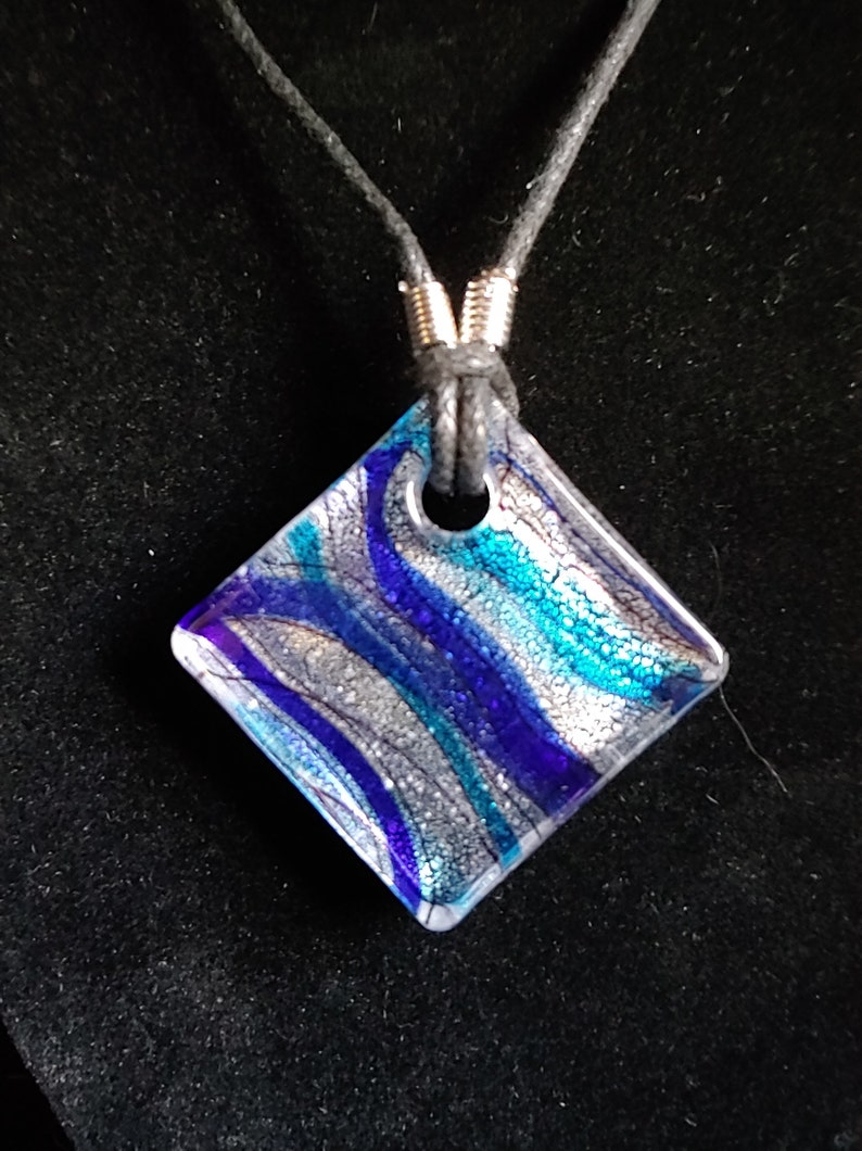 Clear Glass Diamond Pendant with Blue and Ribbon Stripes image 0