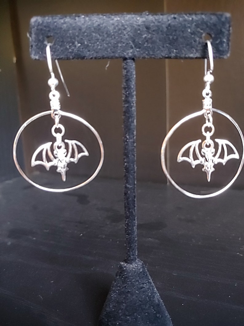 Bat Goth Gothic Silver Wire Earrings Drop Earrings image 0