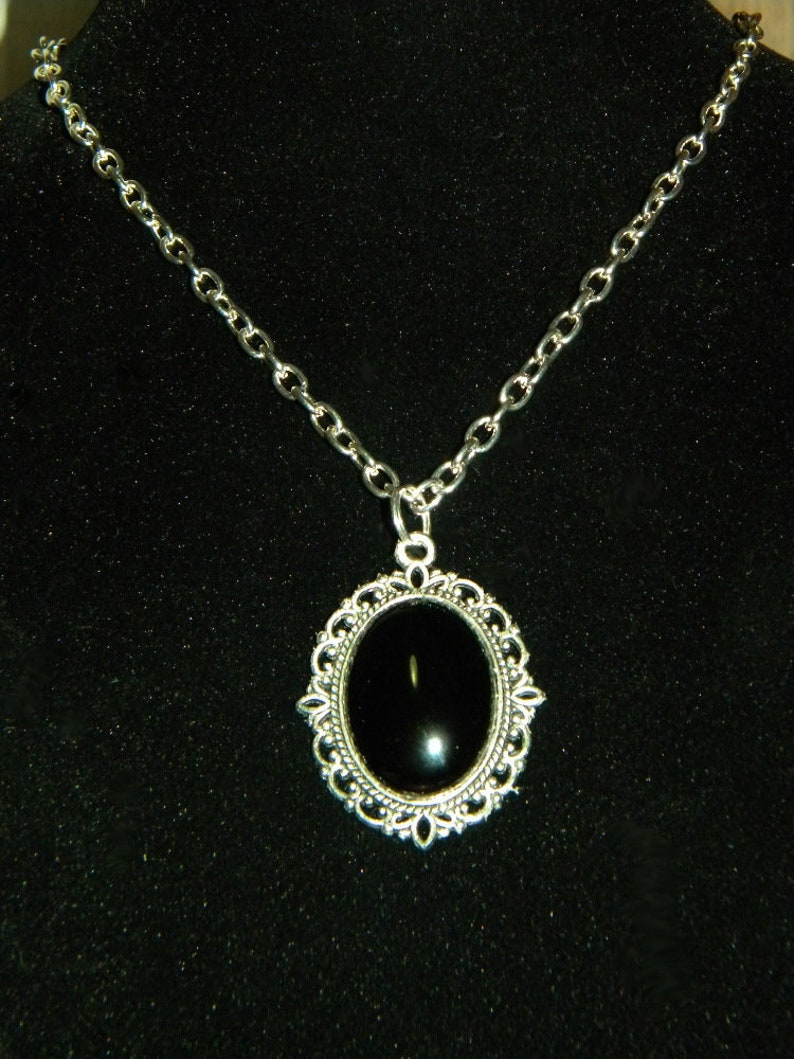 Silver and Black Necklace Filigree Black Agate Victorian image 0