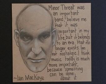 Original Graphite Drawing of Ian MacKaye with Quote . Portrait. Minor Threat . Pencil . Punk Music Tribute . Straight Edge