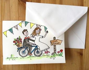Folding card wedding couple hand Painted