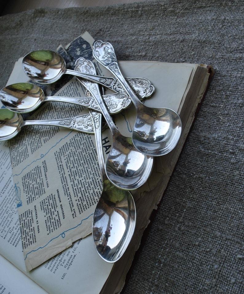 Vintage spoon set Dessert Spoons Nickel silver spoons Collectible spoons Vintage flatwareVintage kitchen decor Birthday Gift