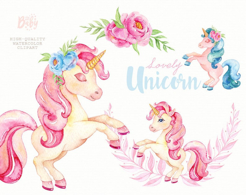 Watercolor Unicorn Clipart, Magical Unicorns Clip art, Girl, floral frame,  kids, cute, nursery art, baby-born, baby-shower, fairytale, party