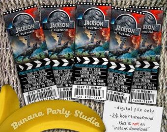 Jurassic World Ticket Invitation, Jurassic World Invite, Jurassic World Party, Jurassic Park Ticket Invite, Jurassic Park, Jurassic World