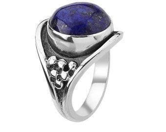 Lapis Lazuli Ring | Handmade Silver Ring | 925 Silver Rings | Women Jewelry | 10x12mm Oval Gemstone  | Oxidized Jewelry | Christmas Gift