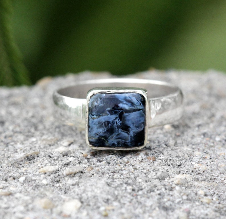Charming Pietersite Ring For Birthday Gift Sterling Silver Ring With Pietersite Stone Beautiful Silver Square Ring For Day Events