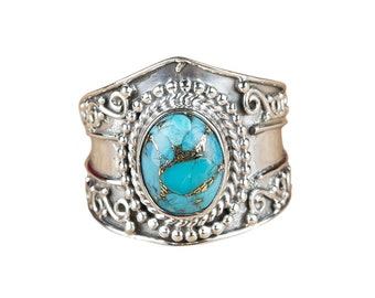 Blue Copper Turquoise Ring, 925 Sterling Silver, Wide Band Ring, Oval Turquoise  Ring, Turquoise Jewelry, December Birthstone, Mohave Ring