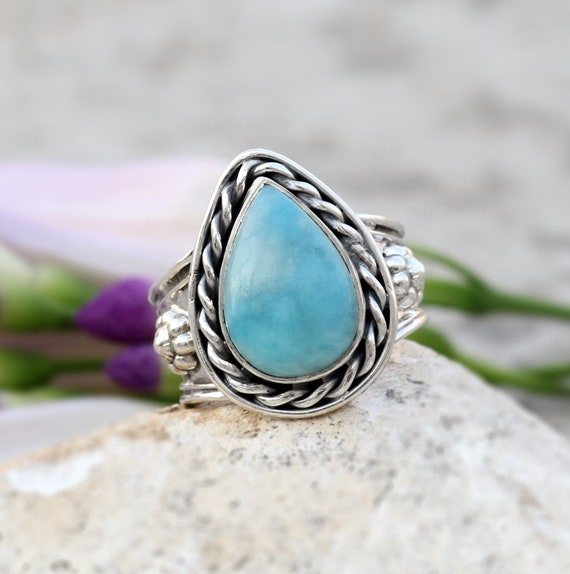 Boho Jewelry  RG 637 Natural Rare Larimar Gemstone  Vintage Style Setting Ethnic Gift Handmade Ring Size 7 US Jewelry Best Gift For Her