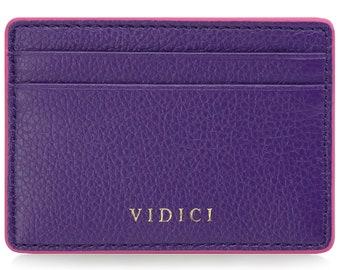 Pebble Vegan Leather Card Holder Wallet in Purple & Pink