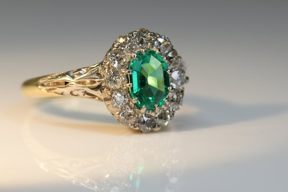 Antique Emerald Diamond Ring | Natural Emerald wi… - image 2