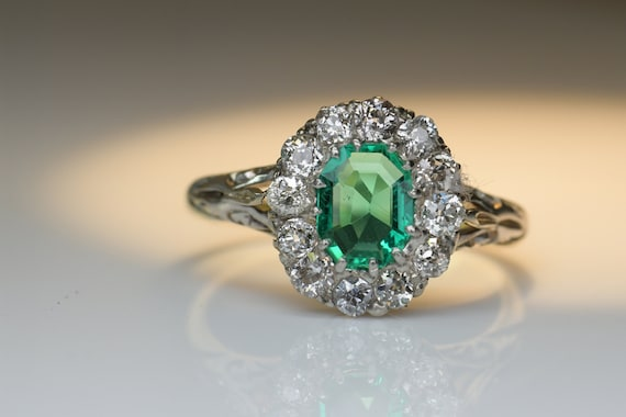 Antique Emerald Diamond Ring | Natural Emerald wi… - image 5