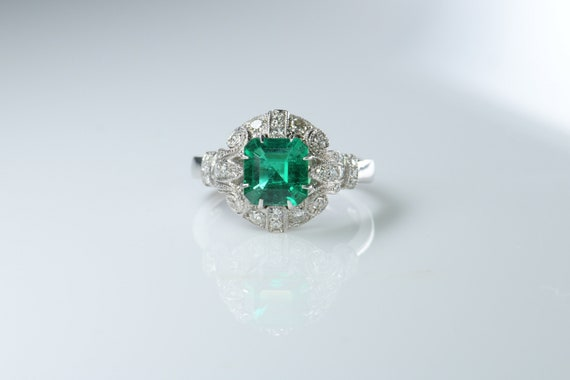 No Oil Colombia Emerald Diamond Ring AGL Certific… - image 3