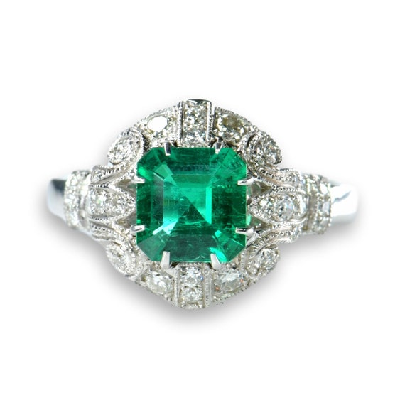 No Oil Colombia Emerald Diamond Ring AGL Certific… - image 1