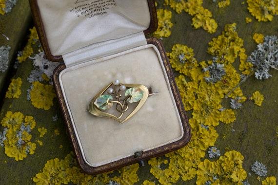 Art Nouveau Enamel and Pearl Brooch