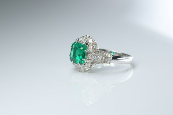 No Oil Colombia Emerald Diamond Ring AGL Certific… - image 6