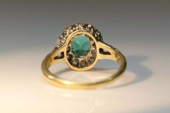 Antique Emerald Diamond Ring | Natural Emerald wi… - image 6