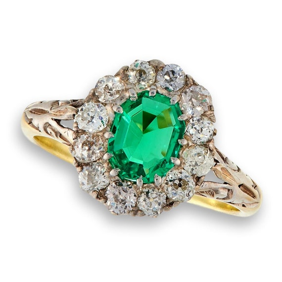 Antique Emerald Diamond Ring | Natural Emerald wi… - image 1
